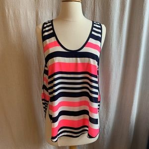 Honey Punch Racer-Back Striped Tank, Size Small